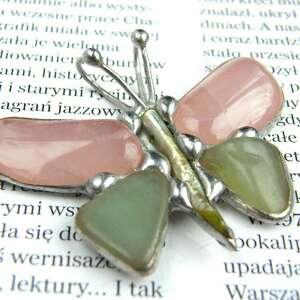 zielone wisiorki kwarc wisior: motyl różowy z