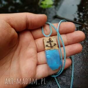 kotwica wisiorki turkusowe wisior wooden anchor