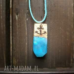 Drzewiec niebieskie wisiorki skóra wisior wooden anchor