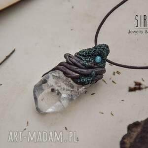 turkusowe wisiorki kryształ wisior z kryształem górskim