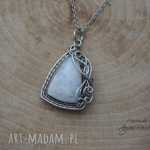 handmade wisiorki wisiorek kamień księżycowy, wire