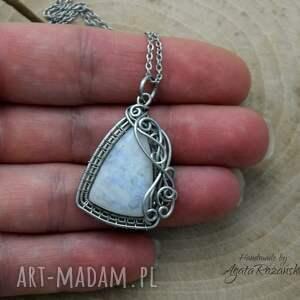 niebieskie wisiorki wisiorek kamień księżycowy, wire