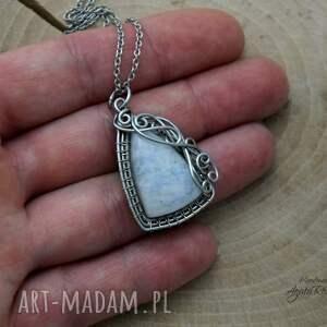 handmade wisiorki wire wrapping wisiorek kamień księżycowy,