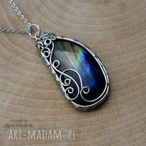 stal chirurgiczna wisiorek labradoryt, wire wrapping