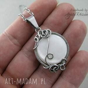 perłowa wisiorki wisiorek z masą perłową, wire