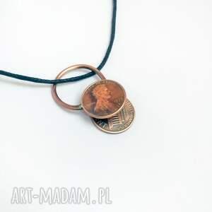 atrakcyjne wisiorki 1 cent wisiorek z monetą 1 usa. twoja