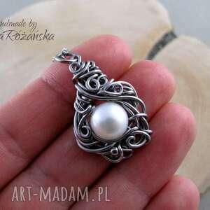 unikalne wisiorki wisiorek z perłą, wire wrapping