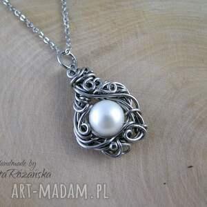 wisiorki perła wisiorek z perłą, wire wrapping