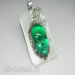 atrakcyjne wisiorki wisior zielona maska n46