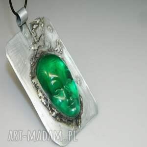 maska żywica wisiorki zielona n46