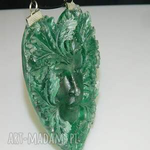 wisiorki wisior żywica zielona twarz n47