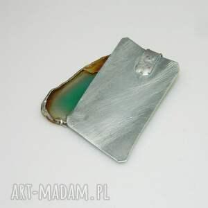 srebrne wisiorki wisior zielony agat-n37