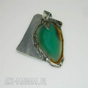 unikatowa-biżuteria wisiorki zielony agat-n37