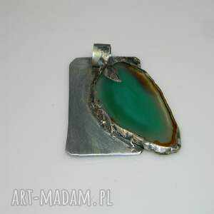intrygujące wisiorki wisior zielony agat-n37