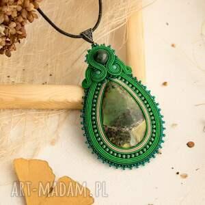 wisiorki wisior zielony soutache z turkusem