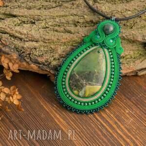 wisiorki naszyjnik zielony wisior soutache z turkusem