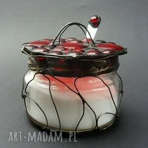 ręcznie robione unikat cukiernica czerwona na twòj stòł