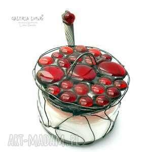 ręcznie robione witraże unikat cukiernica czerwona na twòj stòł