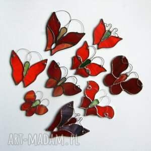 pomarańczowe witraże motyl kropel pomarańczak
