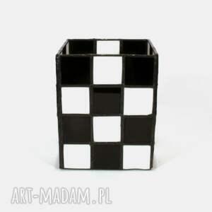 białe witraże lampion witrażowy - chess