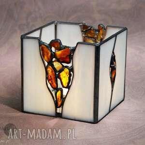 srebrne witraże świecznik lampion z bursztynami amber
