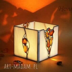 handmade witraże świecznik lampion z bursztynami amber