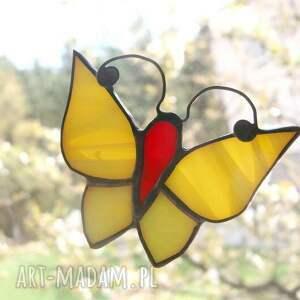 czerwone witraże witraż motylek miodnik najsłodszy ze szkła
