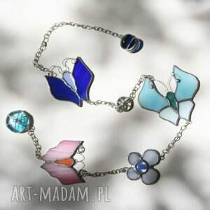handmade witraże witraż różano błękitne motyle