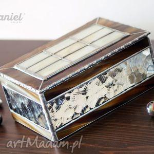 srebrne witraże puzderko szkatułka witrażowa retro