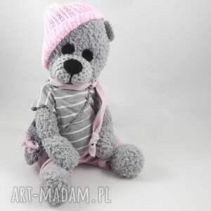 różowe zabawki miś misiowa panienka wykonana ręcznie