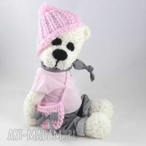 białe zabawki maskotka dla dziewczynki amelka - szydełkowa misia