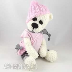 miś zabawki różowe misiowa panienka wykonana ręcznie