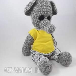 żółte zabawki słonik benjamin - szydełkowy