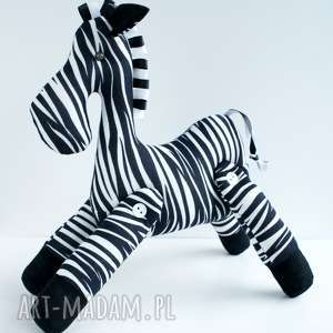 białe zebra brykająca przytulanka