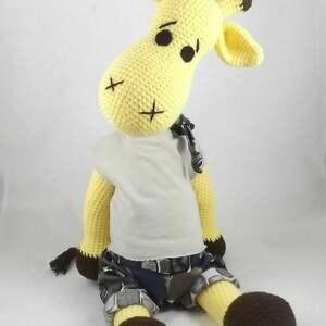 kolorowe zabawki szydełkowa maskotka duża żyrafa