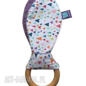 fioletowe zabawki gryzak klonowy, wzór diamenty