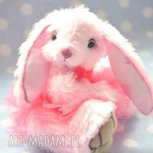 różowe zabawki miś hand made, królisia kaja, szyta