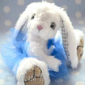 miś zabawki białe hand made, królisia lola, szyta