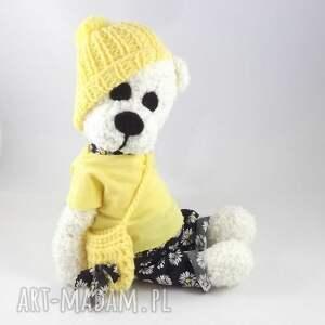 żółte zabawki maskotka helenka - szydełkowa misia