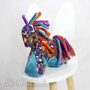 ręcznie zrobione zabawki koń turkus fiolet - przytulanka