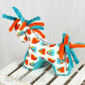 pomarańczowe zabawki koń turkus - przytulanka