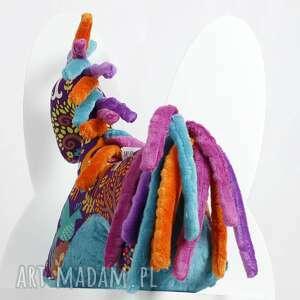 ręcznie zrobione zabawki zabawka koń turkus fiolet - przytulanka
