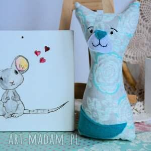 białe zabawki kotek dla maluszka - mruczek