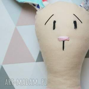 szare zabawki imię królik przytulanka z imieniem