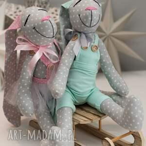 białe zabawki personalizacja królik uszyty z tkaniny w 100% bawełnianej