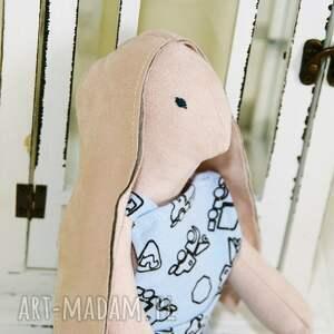 handmade zabawki królik lalka tilda - błękitne