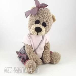 miś zabawki różowe lusia - szydełkowa misia