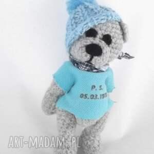niebieskie zabawki mały miś wykonany na zamówienie