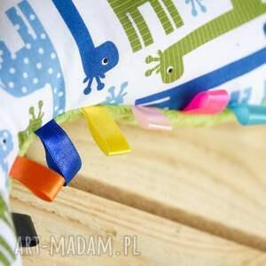niebieskie zabawki zabawka mięciutki dinozaur - minky bawełna