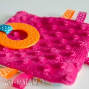 pomarańczowe zabawki gryzak minky-sensorek-gryzak - wesoła